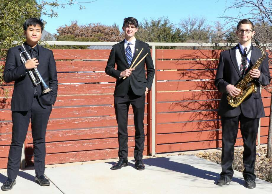 Trinity School of Midland announced that three students have qualified for the Association of Texas Small Schools Bands 3A-4A all-state bands: Shine Yang, trumpet; Mitchell Sharum, percussion; and Alex Khouri, tenor sax. Photo: Trinity School