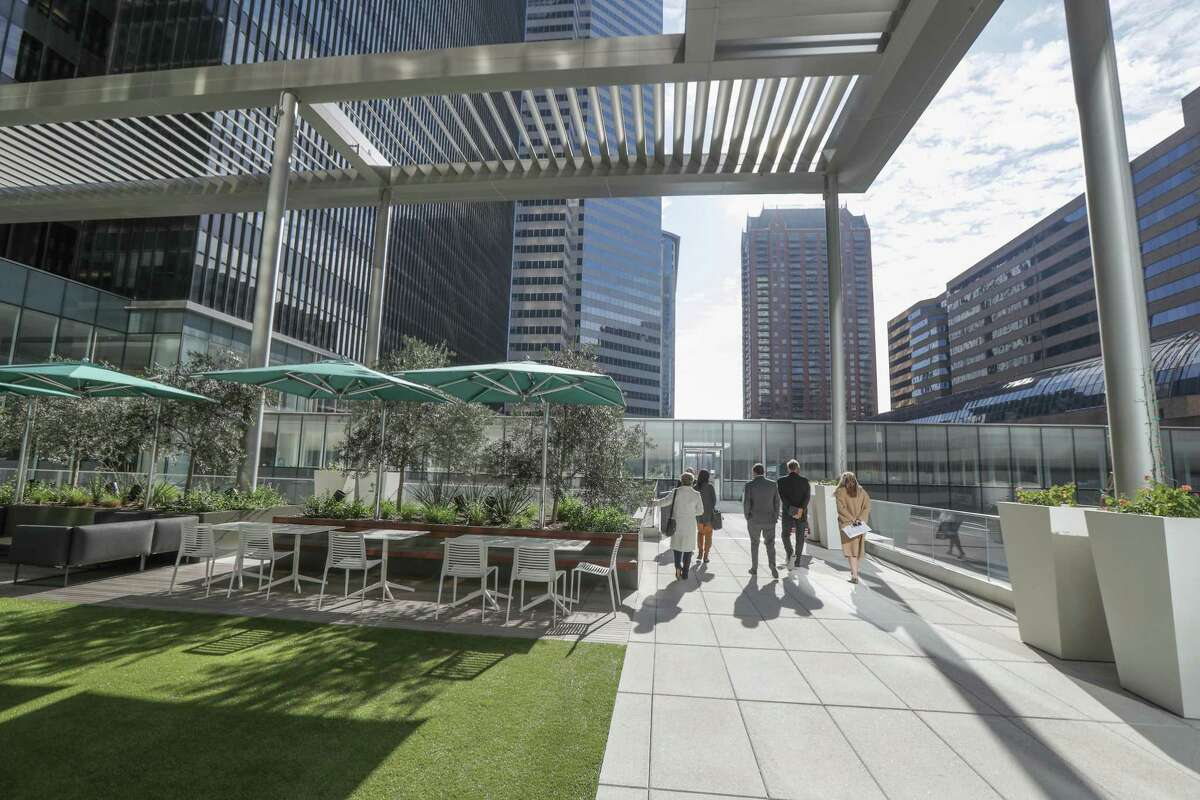 A third-floor gathering outdoor area at Houston Center, downtown's largest office complex, which has just completed an extensive renovation. Photographed Thursday, Jan. 28, 2021, in Houston.