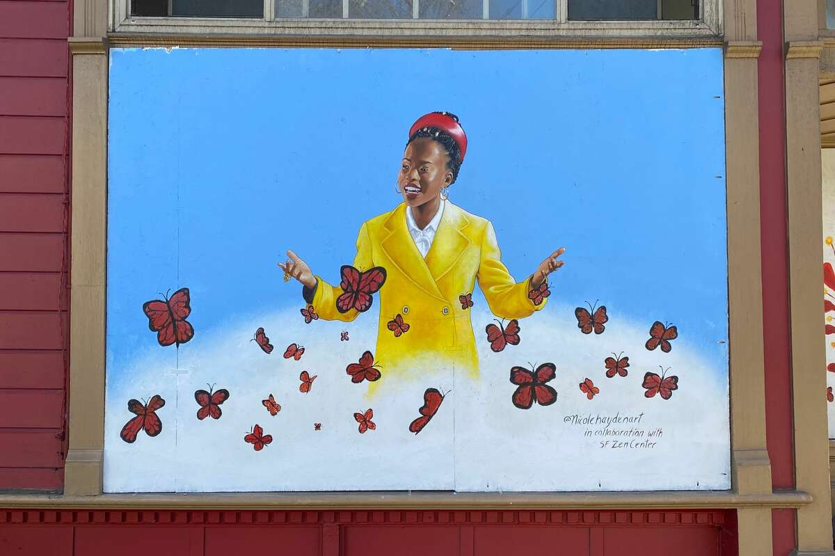 A mural of poet Amanda Gorman is seen outside the San Francisco Zen Center at the corner of Page and Laguna streets in Hayes Valley.