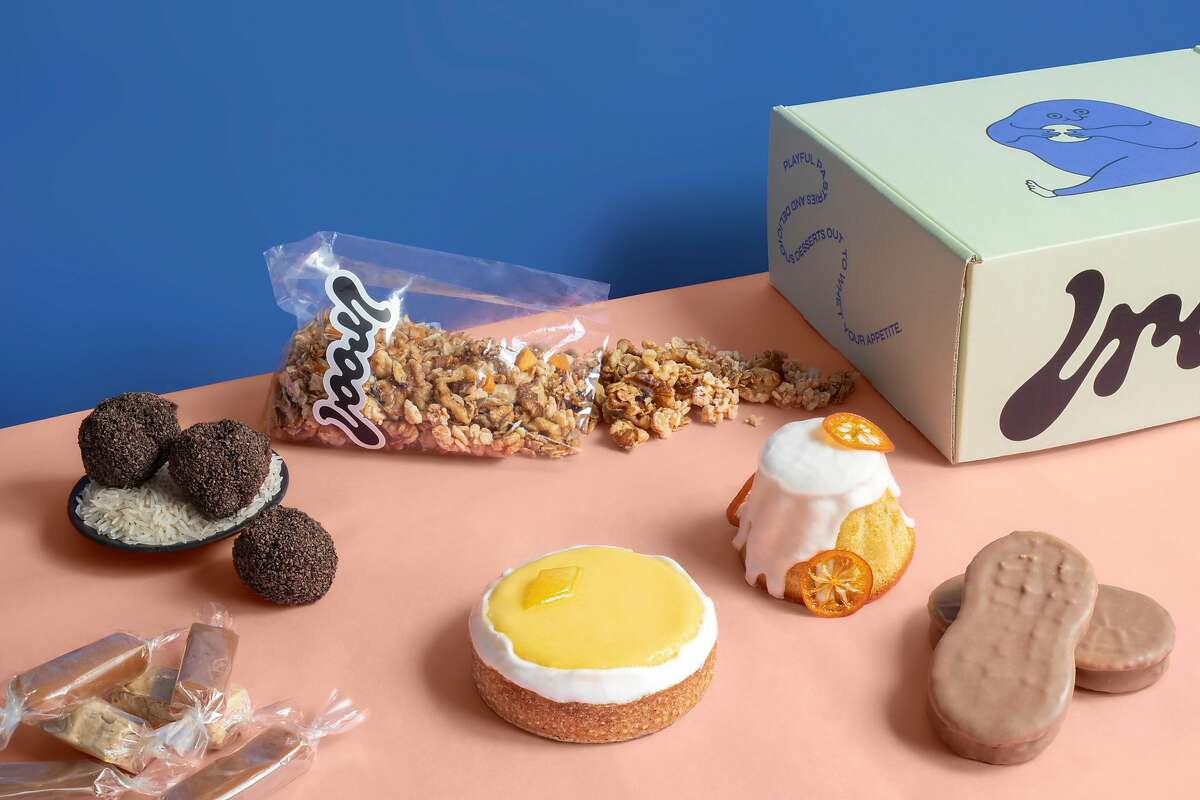 Pastries from Drool, a new delivery and pickup-only food operation from chef Nick Muncy that launched in February. Items include hazelnut truffles, a version of a Nutter Butter, and a lemon tart.