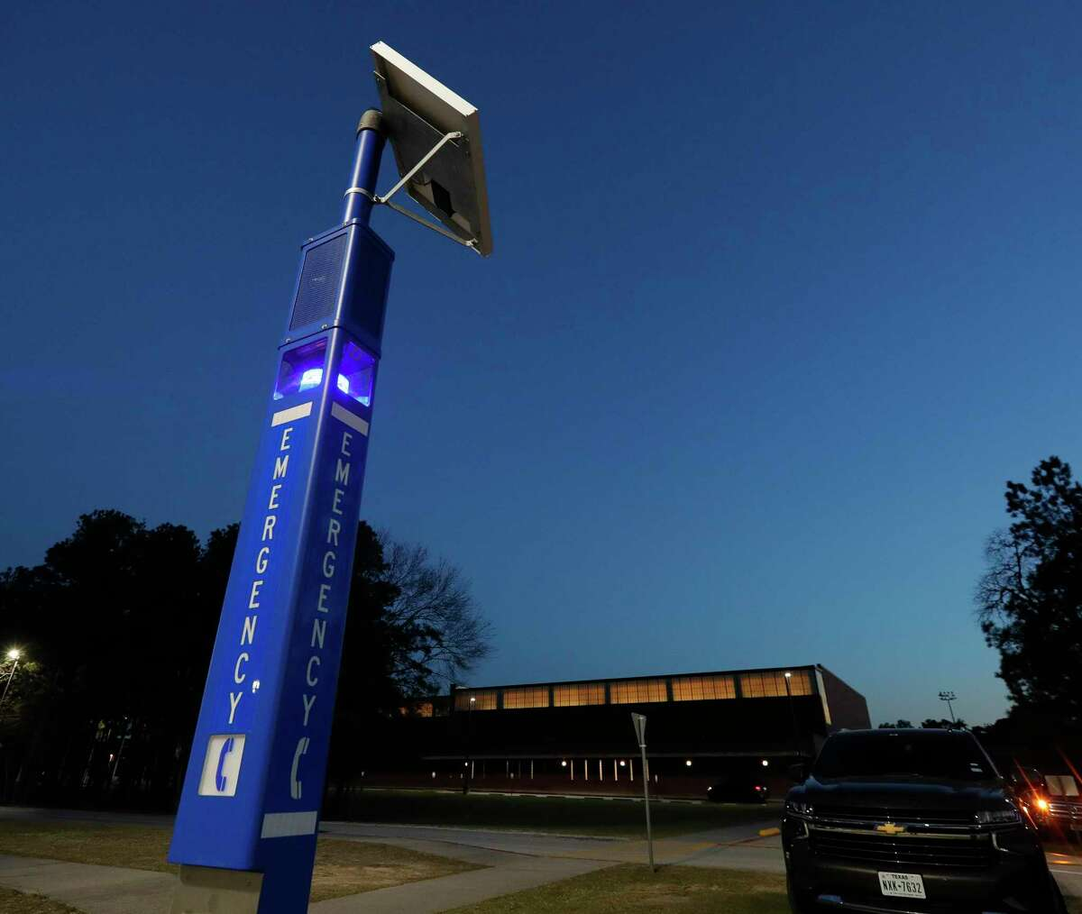 An emergency call tower is seen near the student parking lot at The Woodlands High School, Tuesday, Feb. 2, 2020, in The Woodlands. Emergency towers were placed on all high school and ninth grade campuses, along with other security upgrades as part of a $1 million grant from the Texas Education Agency.