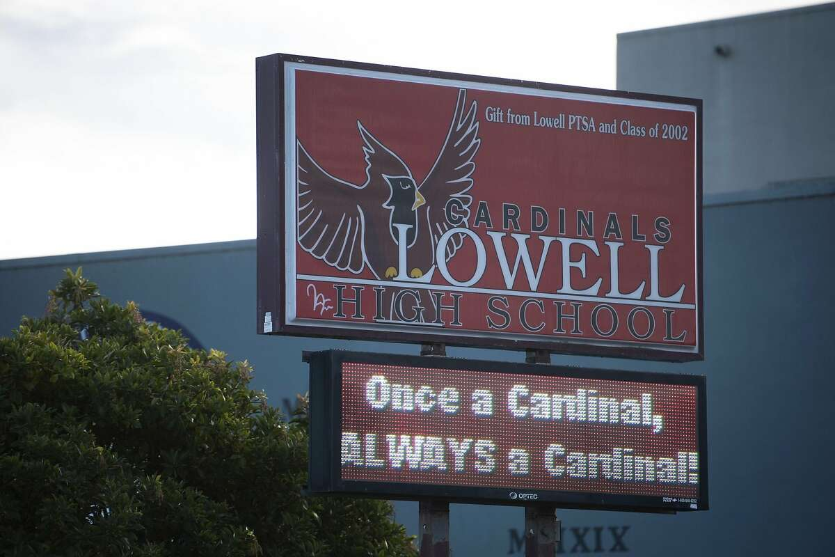 Lowell High School is seen in San Francisco, Calif. on Monday, Feb 1, 2021. An effort to address a lack of diversity and address concerns over racist incidents led to the school board's proposal this week to eliminate the selective admissions process in favor of a random lottery like the district's other high schools.