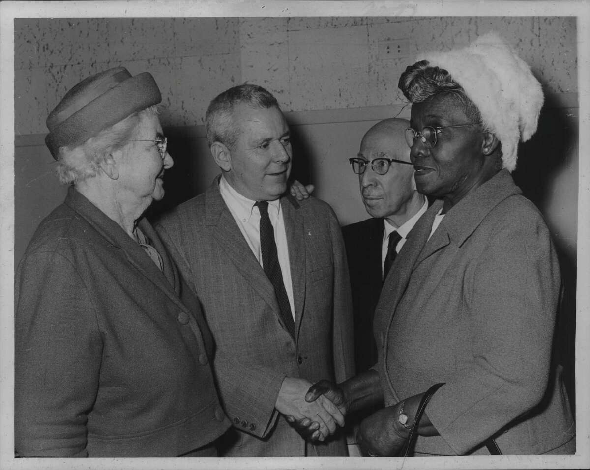 Capital City Commission members meet in Albany, New York - Grace Gustafson, William P. McGlone, John R. Hauf, and Mrs. Ida Yarbrough. March 02, 1965 (Bob Wilder/Times Union Archive)