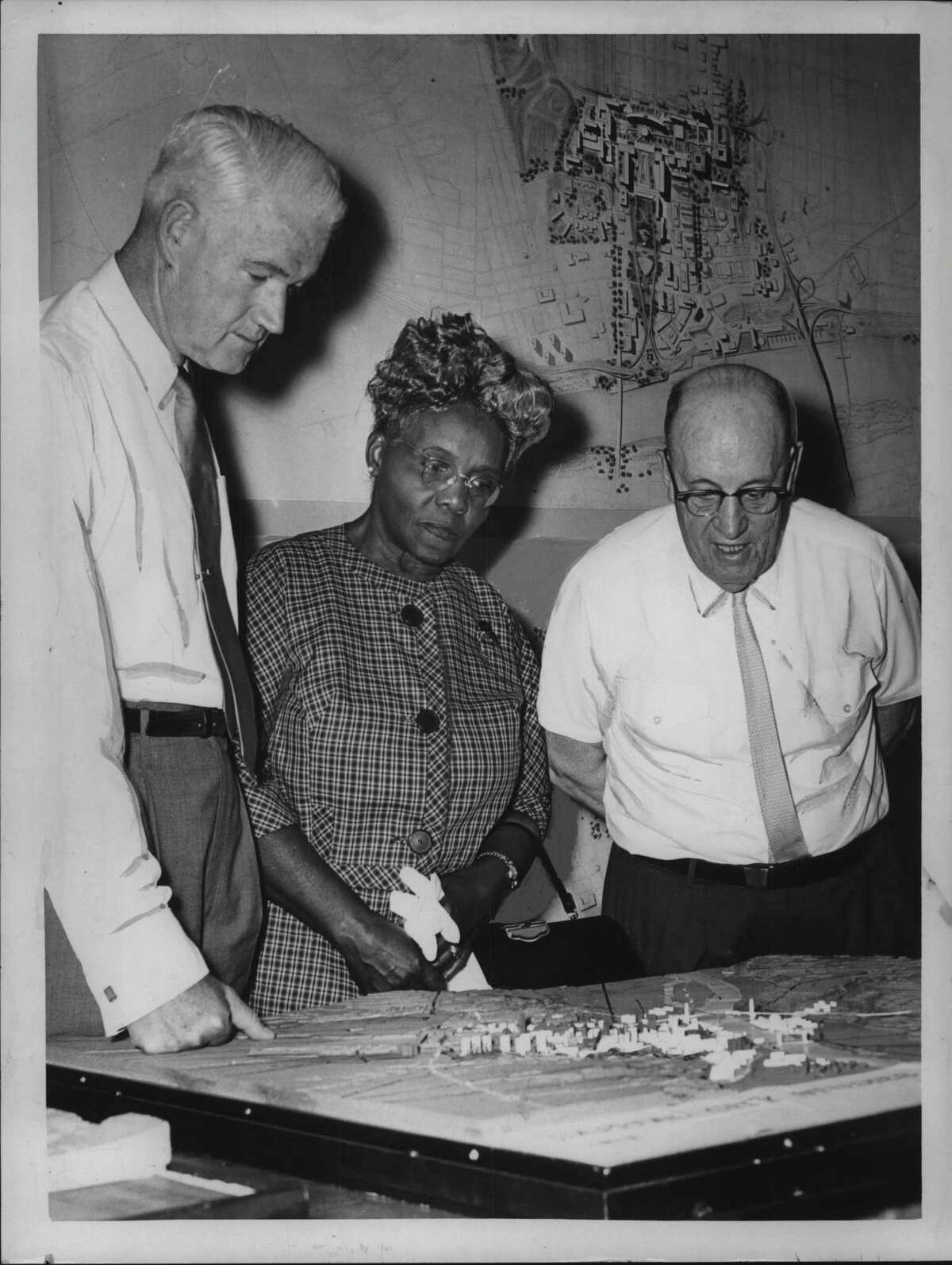 Left to right: Frank Wills McCabe; Mrs. Ida Yarbrough; Frank Cox. June 16, 1962 (Times Union Archive)