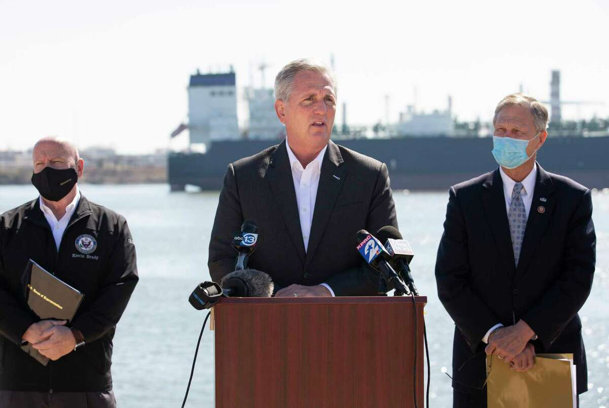 House Minority Leader Kevin McCarthy leads a press conference to talk about the negative impact President Joe Biden's energy policies following a roundtable with Texas oil and gas workers Tuesday, Feb. 2, 2021, at Houston Ship Channel in Houston. Mmbers of the Republican Houston delegation also participated the roundtable.