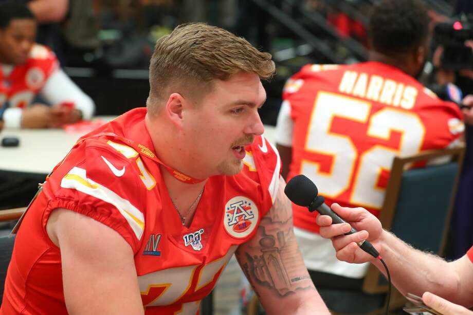 Kansas City Chiefs' Andrew Wylie speaks with the media during the week leading up to Super Bowl LIV in Aventura, Fla, Jan. 29, 2020. Photo: Getty Images