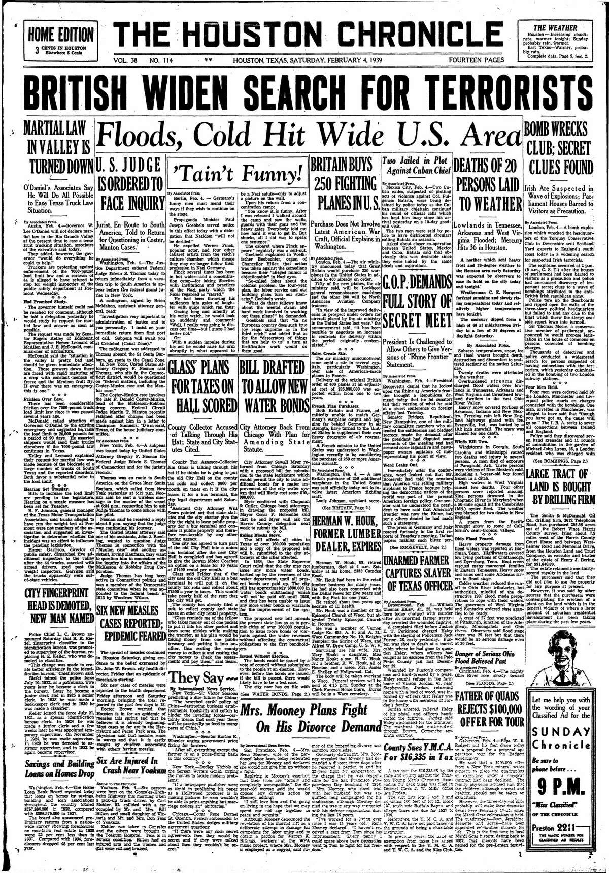 Houston Chronicle front page from Feb. 4, 1939.