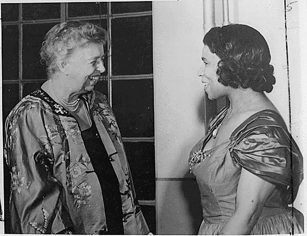 Marian Anderson is pictured with former first lady Eleanor Roosevelt on May 22, 1953 in Japan. In 1939, the Daughters of American Revolution refused to let Anderson sing in Constitution Hall in Washington, D.C. Roosevelt resigned from the group and made arrangement for Anderson to sing n the steps of the Lincoln Memorial on Easter morning. (Courtesy photo/National Archives)