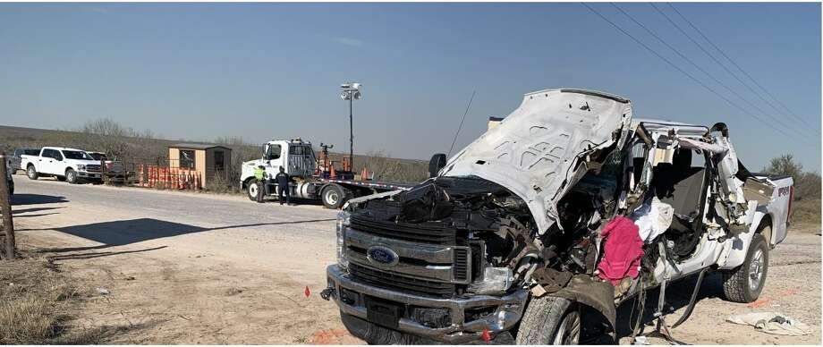 This vehicle rear-ended an 18-wheeler on Monday afternoon on U.S. 59. The driver of the vehicle would later die at the Laredo Medical Center. The Texas Department of Public Safety is investigating the crash Photo: Courtesy