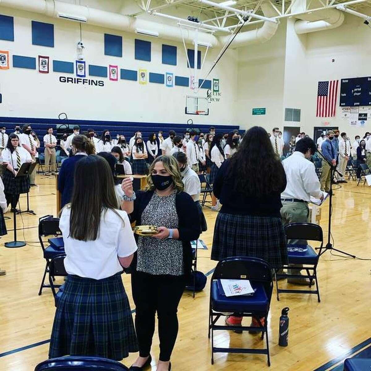Father McGivney Catholic High School have Mass on campus Tuesday with Bishop Thomas Paprocki during Catholic Schools Week.