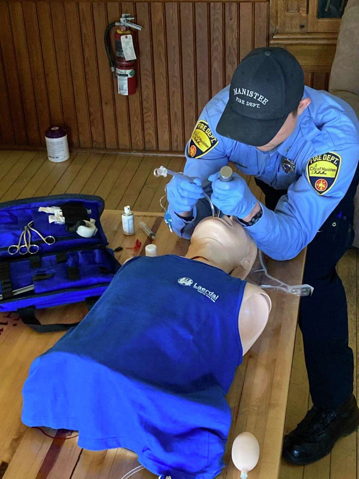 """""""The department utilized this money to purchase an advanced airway mannequin for medical training,"""" Manistee Fire Chief Mark Cameron said. """"This device will allow paramedics to practice and hone their skills to better their performance during emergency airway procedures."""" (Courtesy photo)"""