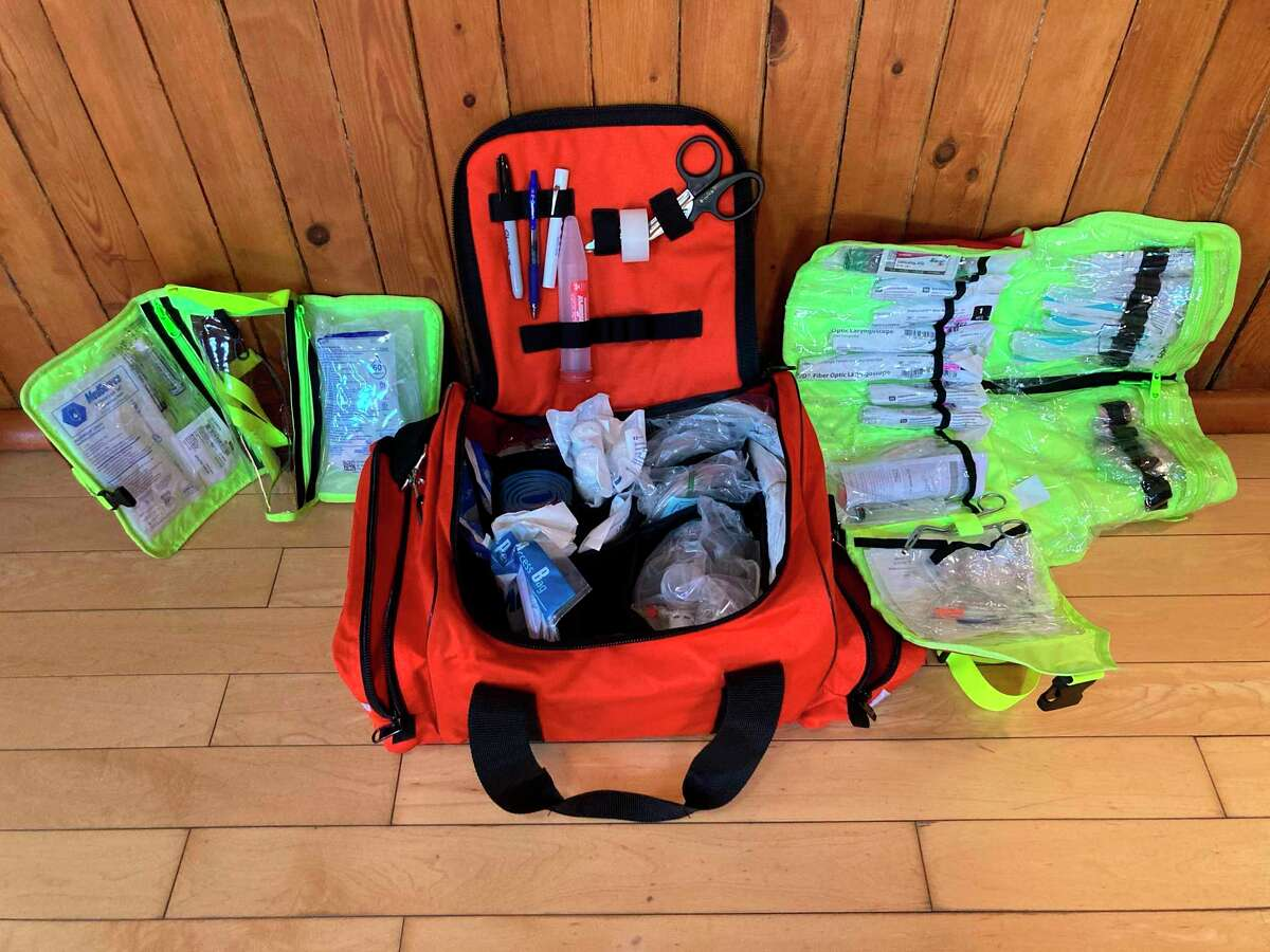 """""""These kits contain the smaller-scaled instruments for dealing with emergencies in children and infants and stores them in one accessible location,"""" Cameron explained. """"This will allow the department members to have all pediatric equipment at a hand's reach when it is needed most,"""" Manistee City Fire Chief Mark Cameron said. (Courtesy photo)"""