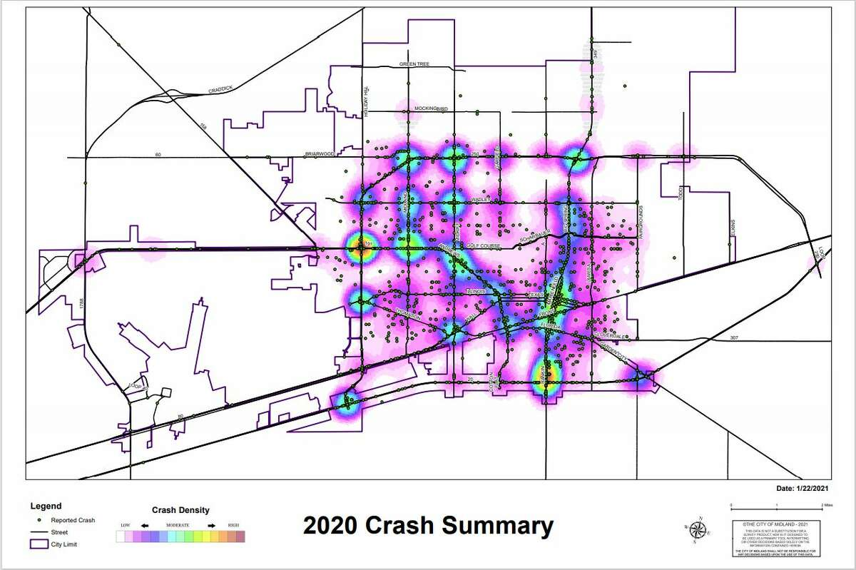The City of Midland's Traffic Operations Division has released its 2020 Traffic Crash Report, which contains data regarding reported traffic crashes that occurred on public roadways last calendar year.