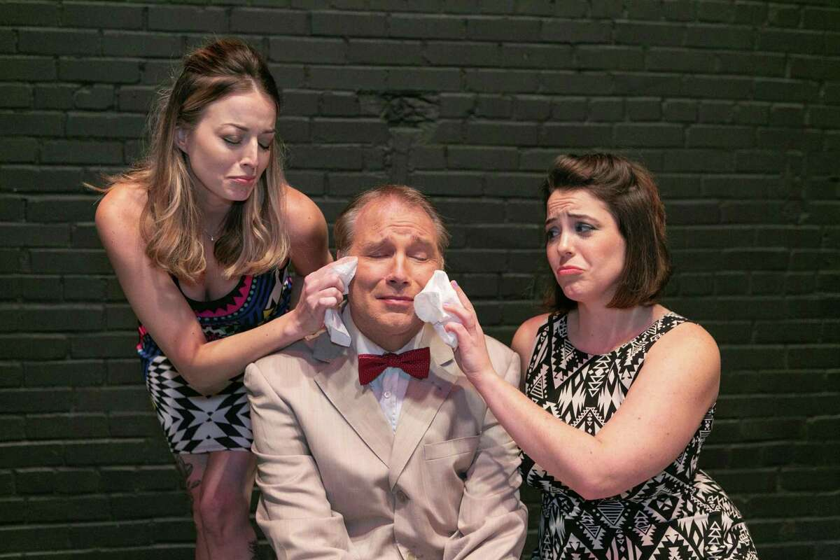 """From left, Mandy Hall, Robert Faber and Sarah Wilkins in Stage Right's """"The Odd Couple"""" opening Feb. 12 at the Crighton Theatre."""