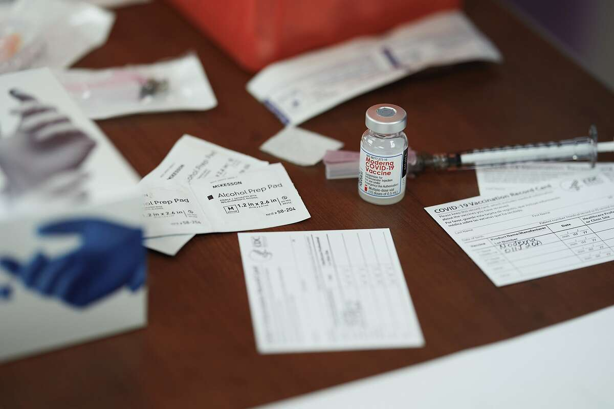 A vial of Moderna's COVID-19 vaccine in Mount Pleasant, Texas, on Dec. 21, 2020.