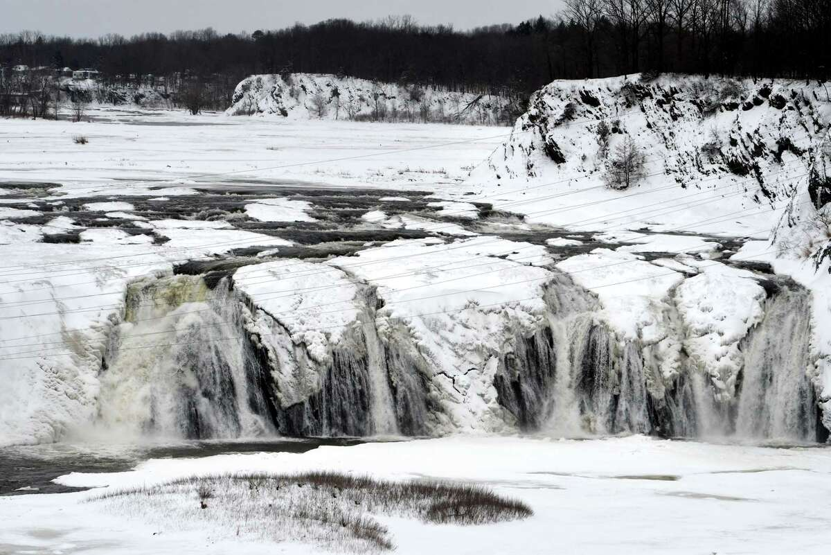 Ice forms across the Cohoes Falls on Wednesday, Feb. 3, 2021, in Cohoes, N.Y. (Will Waldron/Times Union)