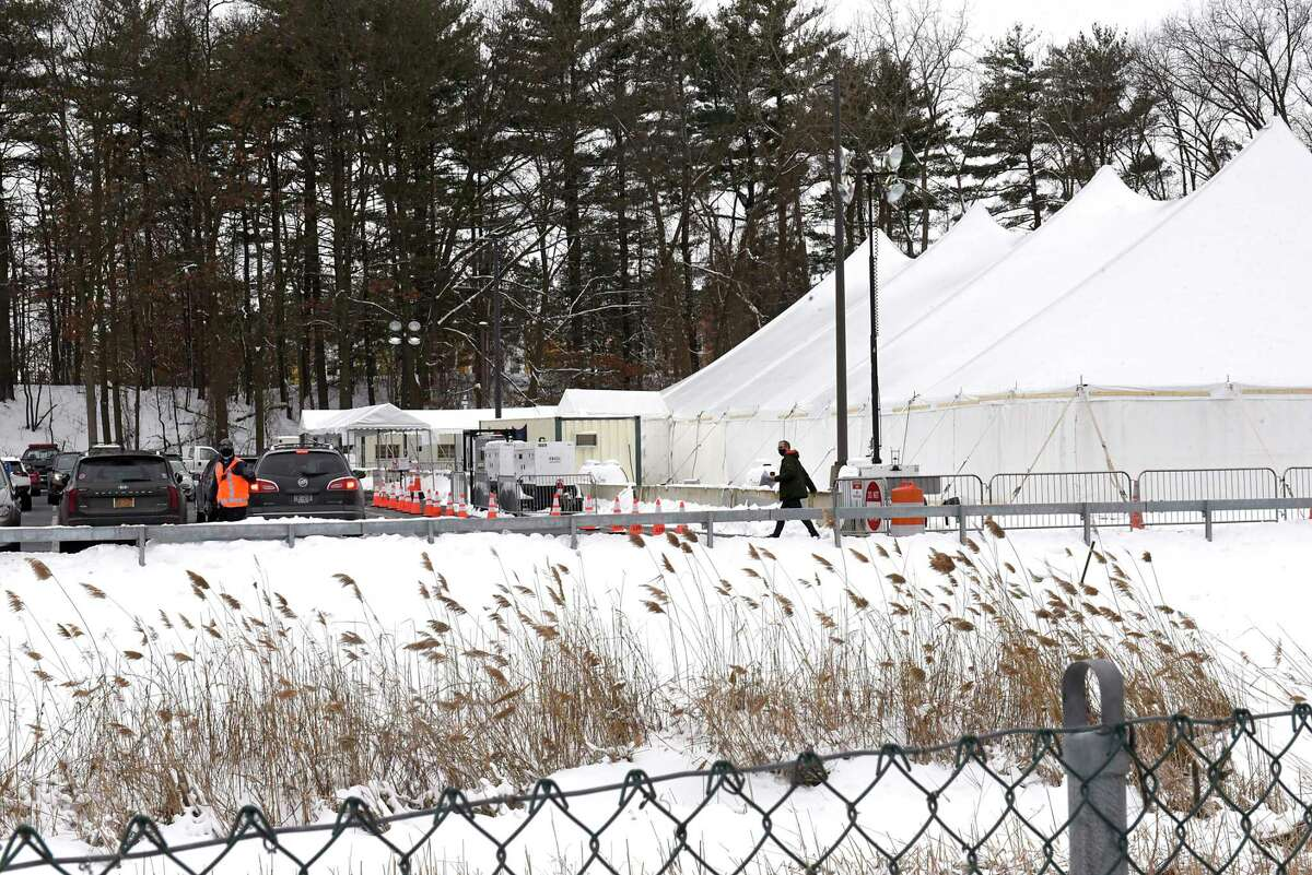 A person is seen leaving the vaccine tent at University at Albany Wednesday, Feb. 3, 2021 in Albany, N.Y. (Lori Van Buren/Times Union)