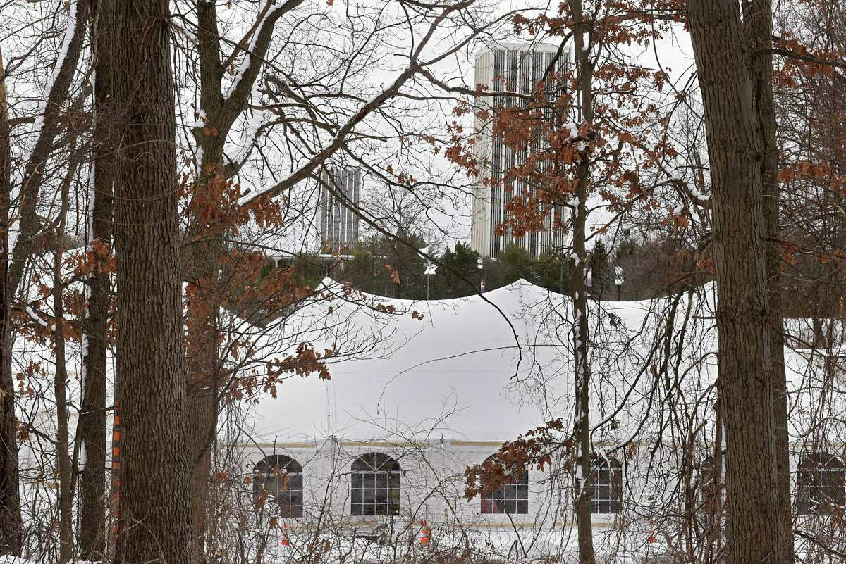 Rear view of the vaccine site at University at Albany Wednesday, Feb. 3, 2021 in Albany, N.Y. (Lori Van Buren/Times Union)