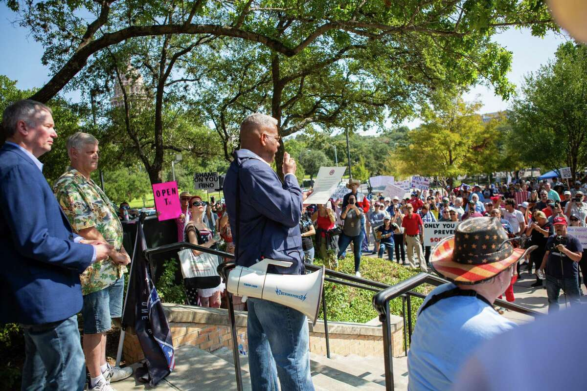 Republican Party of Texas Chairman Allen West came out to rally the protest over their disagreement with Gov. Greg Abbott handling of Covid-19 with mask mandates and business closures and restrictions at the Governor's Mansion on October 10, 2020 in Austin, Texas.
