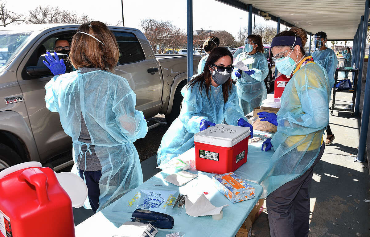 U.I.S.D. BSNs and RNs help distribute the COVID-19 vaccine Monday, Feb. 1, 2021, at Clark Elementary School during the school district's vaccination effort in collaboration with the City of Laredo.