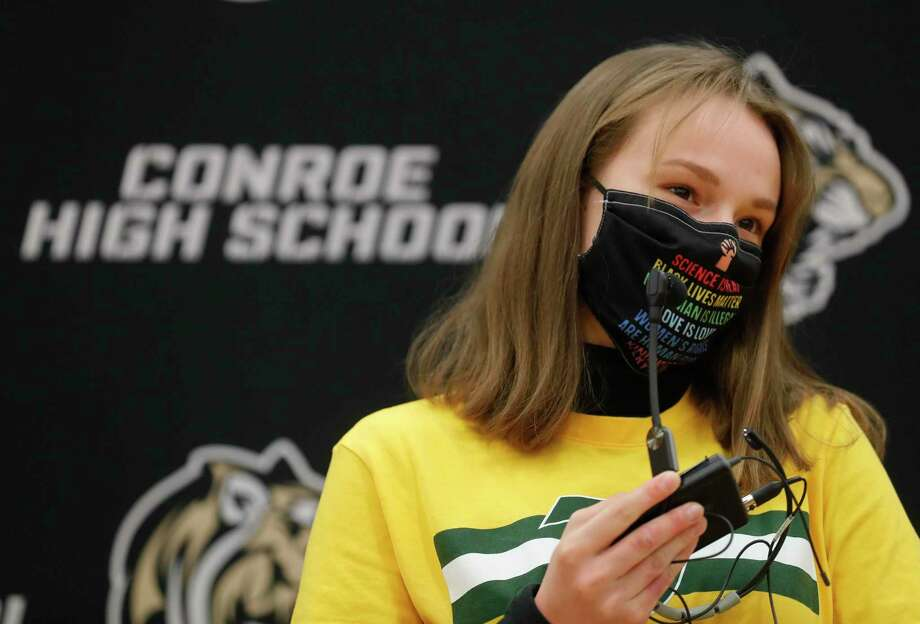 Michal Buska speaks after signing to wrestling for Tiffin University during a National Signing Day ceremony at Conroe High School, Wednesday, Feb. 3, 2020, in Conroe. Photo: Jason Fochtman, Houston Chronicle / Staff Photographer / 2021 © Houston Chronicle