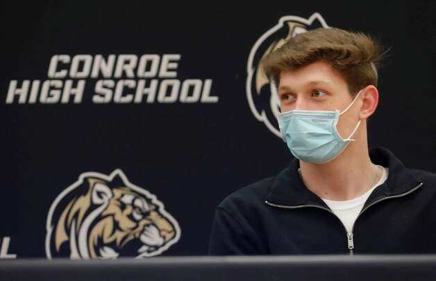 Tyler Trantham speaks after signing to play football for Kilgore College during a National Signing Day ceremony at Conroe High School, Wednesday, Feb. 3, 2020, in Conroe. Photo: Jason Fochtman, Staff Photographer / 2021 © Houston Chronicle