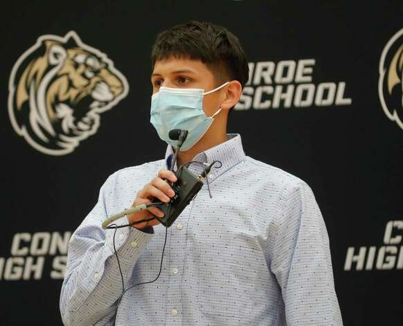 Bryan Cruz speaks after signing to play soccer for Angelina College during a National Signing Day ceremony at Conroe High School, Wednesday, Feb. 3, 2020, in Conroe. Photo: Jason Fochtman, Staff Photographer / 2021 © Houston Chronicle