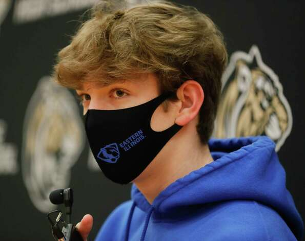 Troy Horn speaks after signing to swim for Eastern Illinois during a National Signing Day ceremony at Conroe High School, Wednesday, Feb. 3, 2020, in Conroe. Photo: Jason Fochtman, Staff Photographer / 2021 © Houston Chronicle