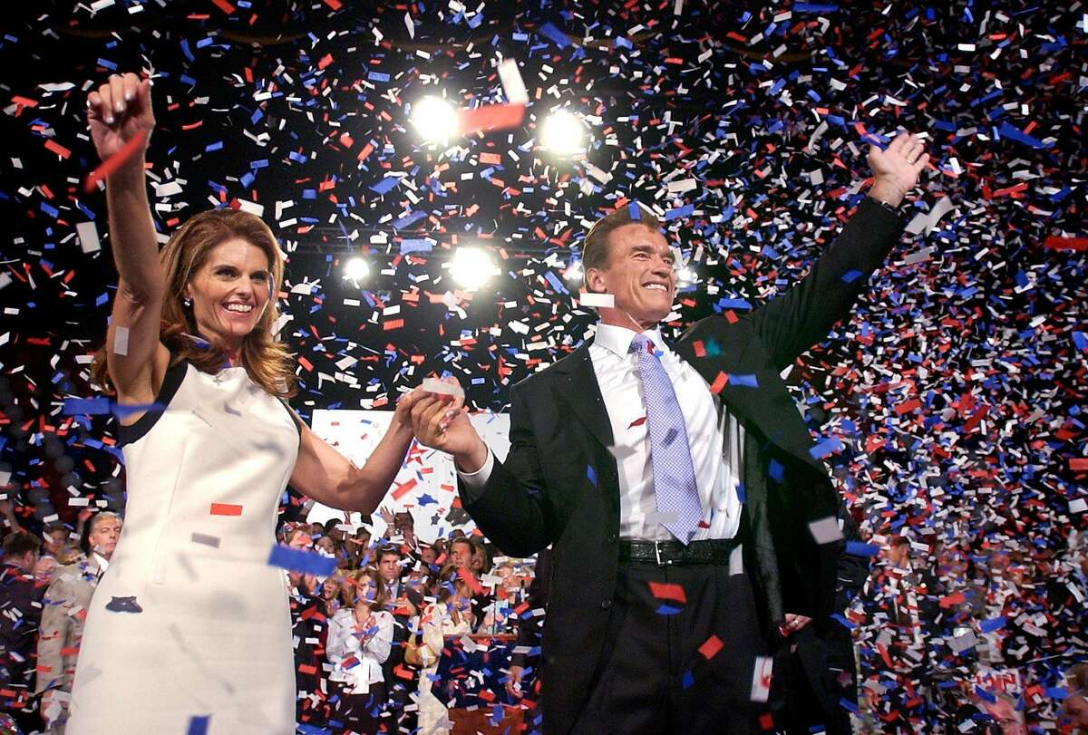 Arnold Schwarzenegger was joined by wife, Maria Shriver, as he celebrated his victory in the California gubernatorial recall election in Los Angeles on Oct. 7, 2003.