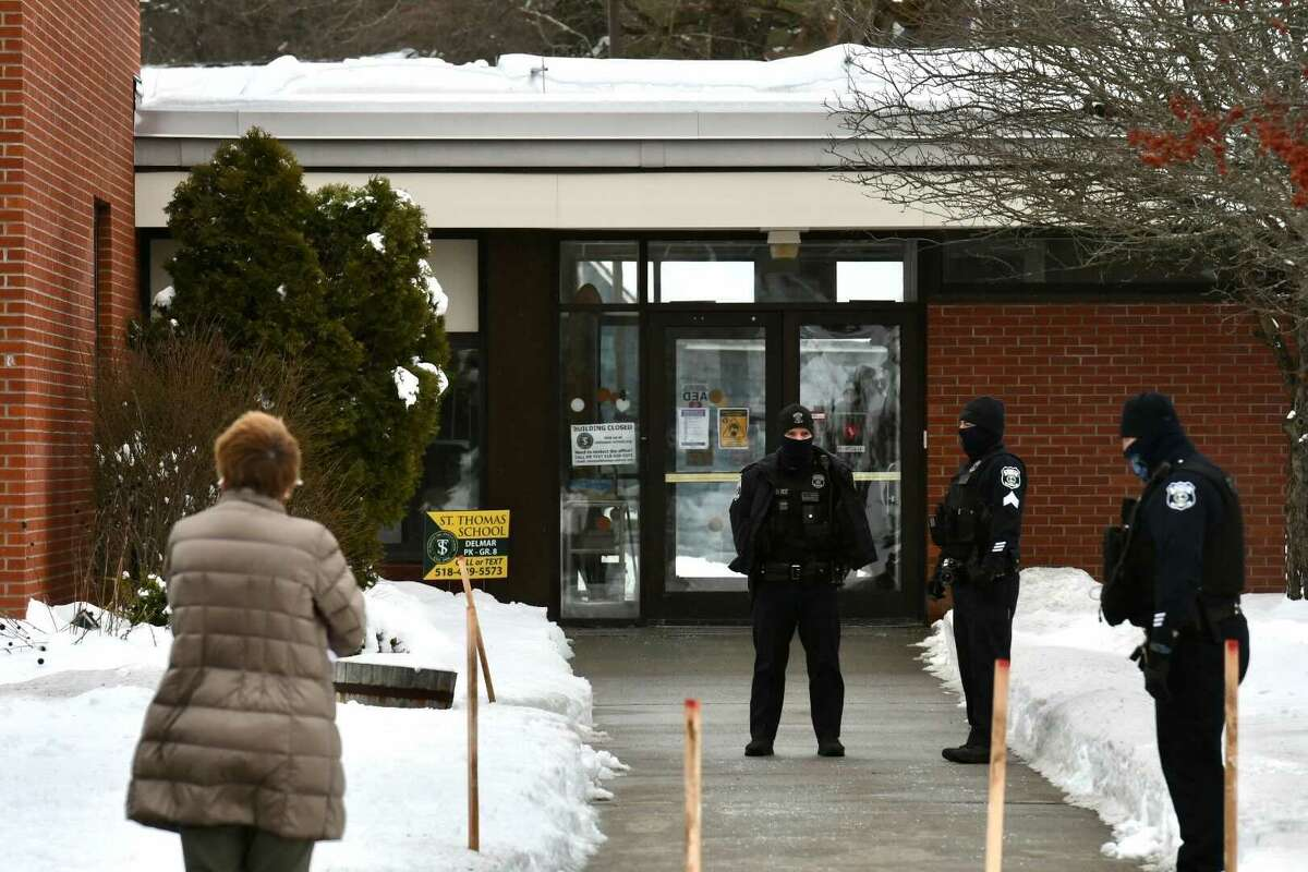 Bethlehem police guard St. Thomas the Apostle school while police investigated an unfounded threat.