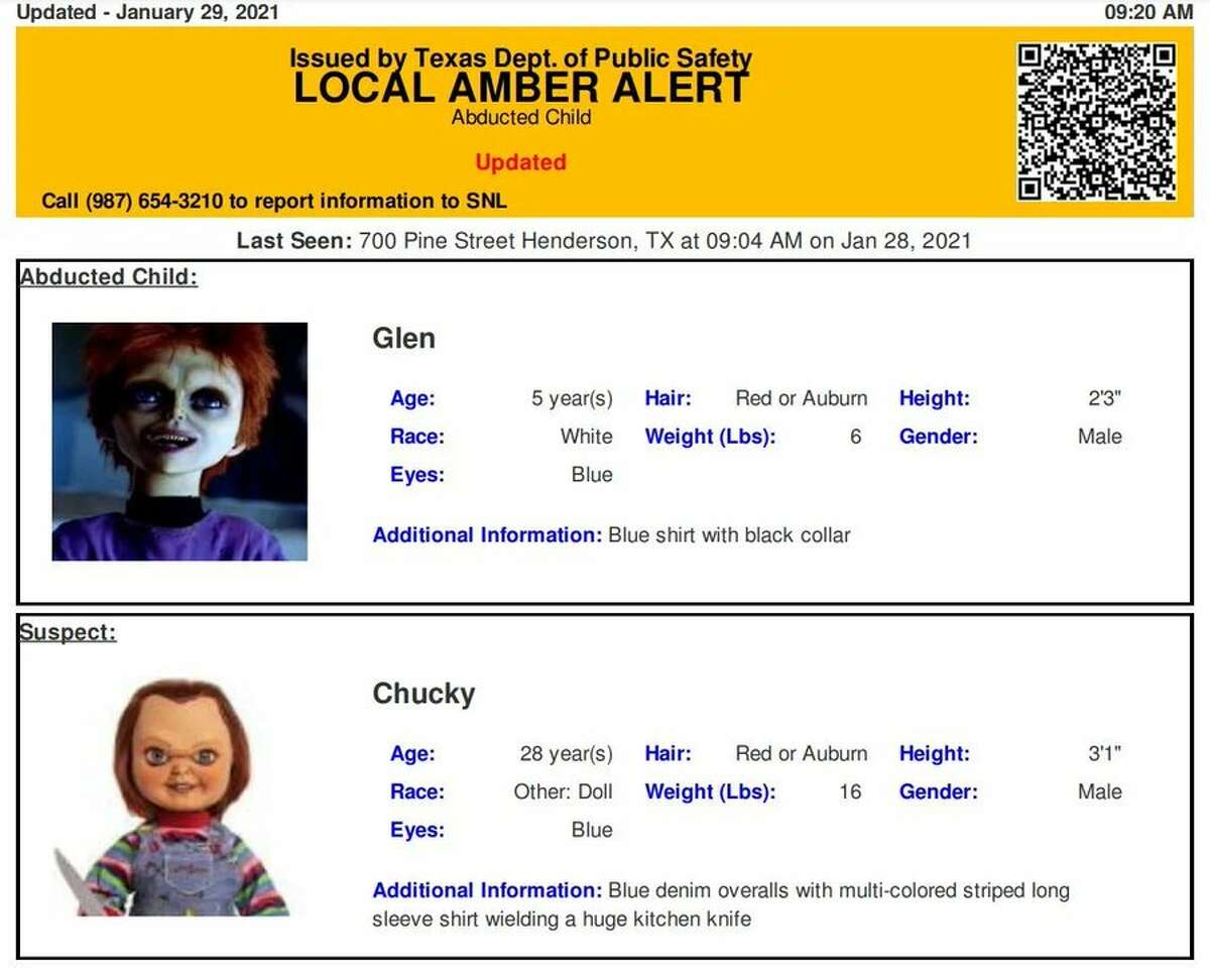 The Texas Department of Public Safety made international news after accidentally issuing an Amber Alert test for Chucky and his son Glen Ray last Friday.