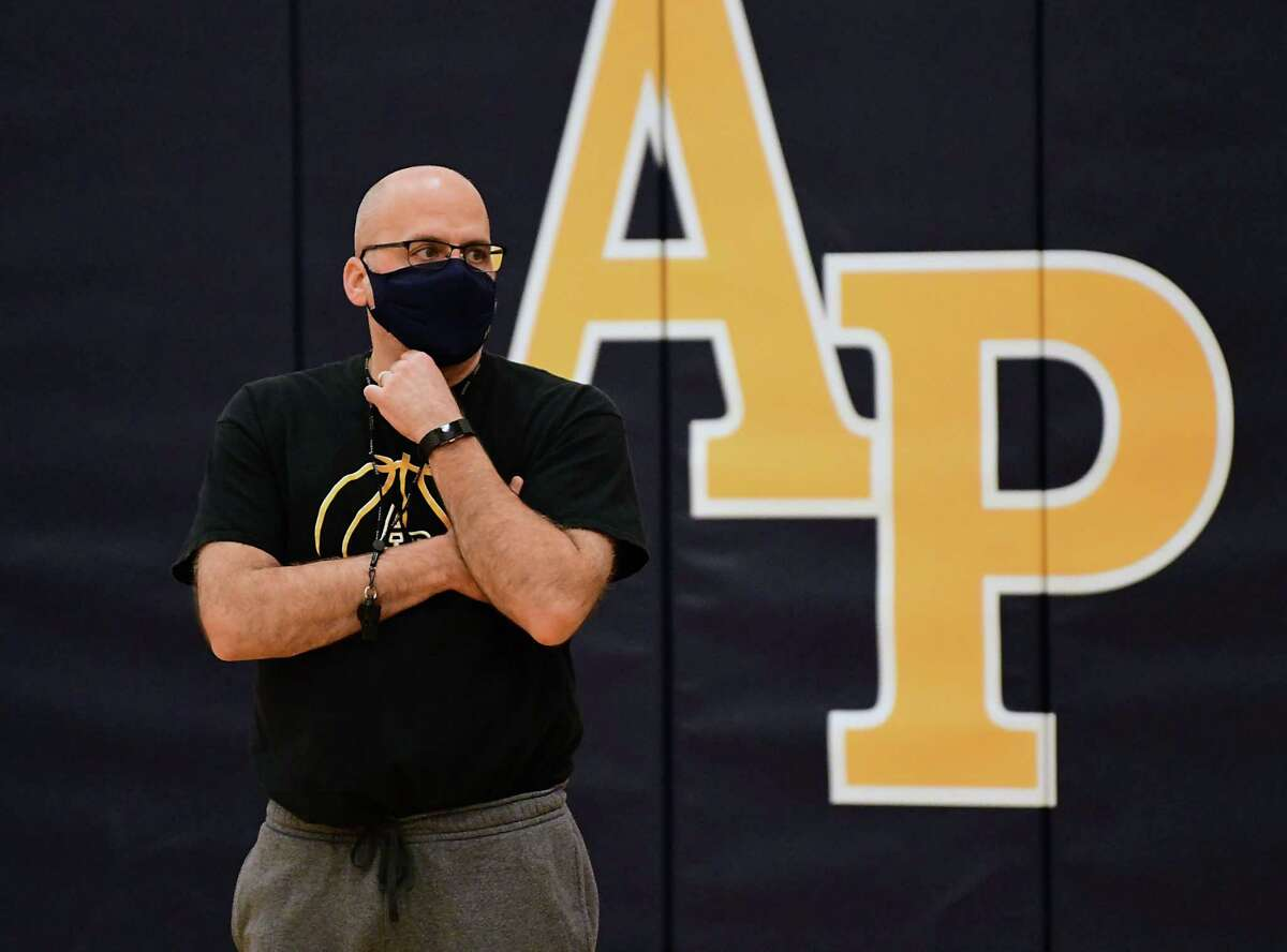 Coach Dave Pugliese is seen leading the Averill Park boys' basketball practice on Wednesday, Feb. 3, 2021 in Averill Park, N.Y. (Lori Van Buren/Times Union)