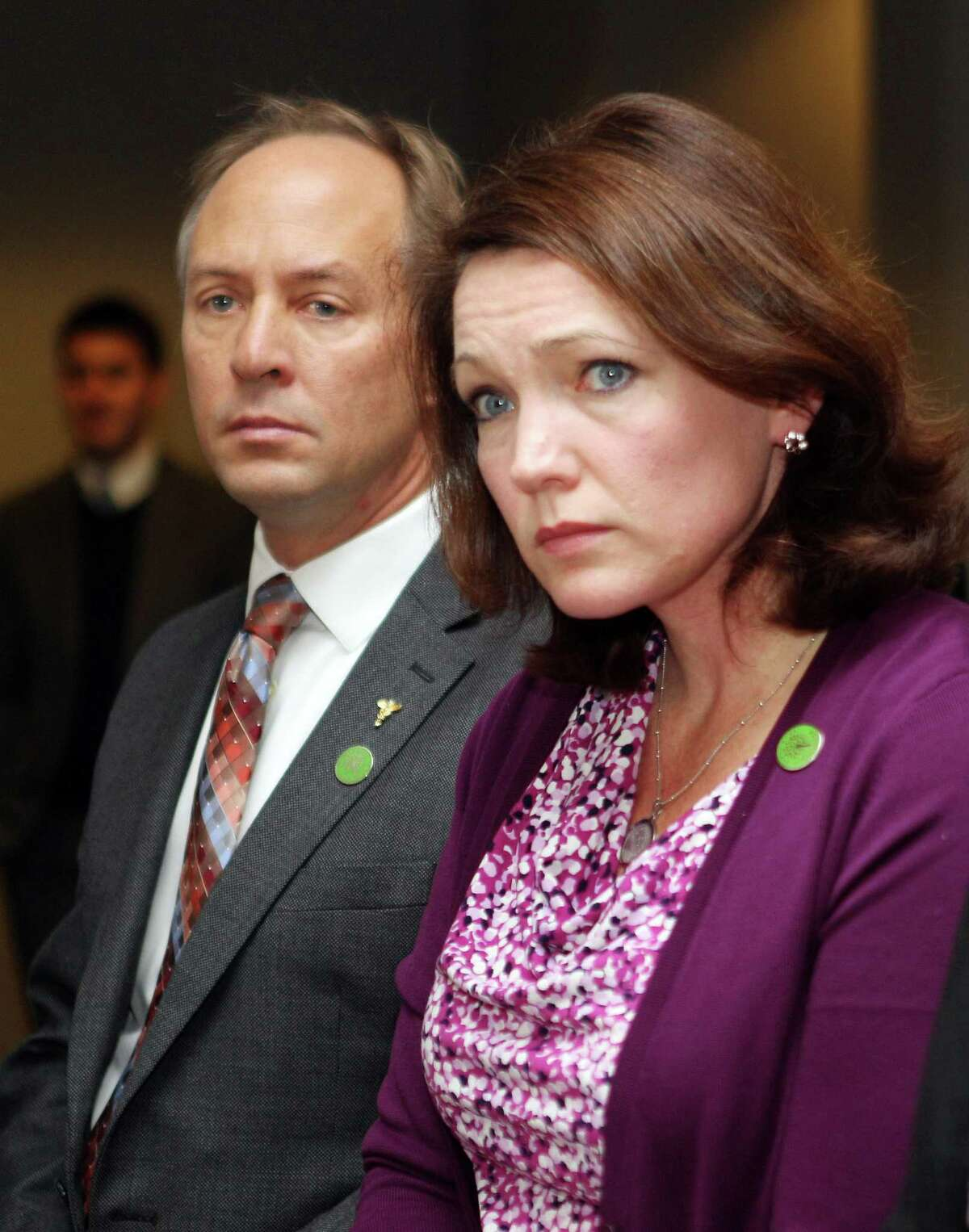 File photo: Mark Barden, who lost his son 7-year-old Daniel, and Nicole Hockley, who lost her 6-year-old son Dylan in the Sandy Hook massacre. Tuesday, Jan. 21, 2014 in Concord, N.H.