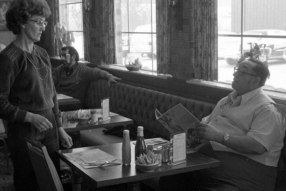 Leonard Snow orders breakfast at the Harvest Table. The photo was originally published in the Feb. 6, 1981 issue of the Manistee News Advocate. (Manistee County Historical Museum photo)