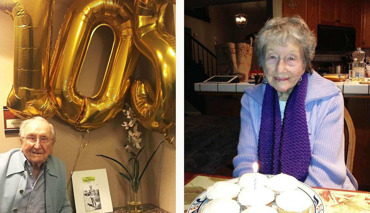 George Dondero and Dixie Belletto, who both survived a case of the 1918-1919 influenza, celebrate recent birthdays. Dondero was born in 1913 and Belletto in 1915. Both grew up in San Francisco.