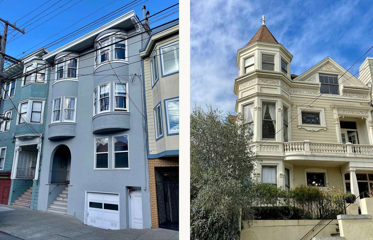 George Dondero and Dixie Belletto, who survived the 1918-1919 influenza, grew up in these San Francisco homes. Dondero lived at 2286 Filbert St., left, and Belletto lived at 394 Fair Oaks St., right.