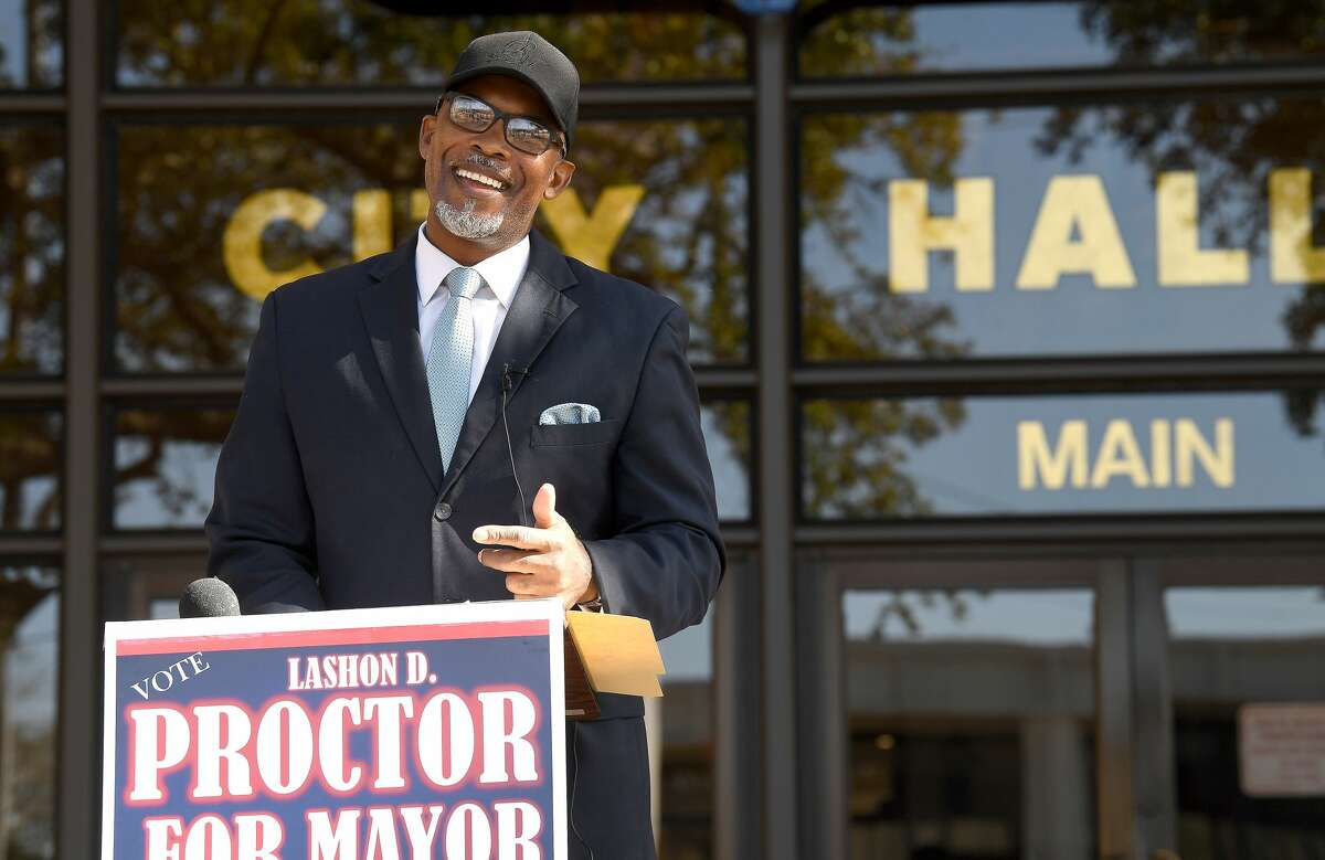 Lashon Proctor made a public announcement of his candidacy for mayor outside Beaumont City Hall Wednesday morning. Photo taken Wednesday, February 3, 2021 Kim Brent/The Enterprise
