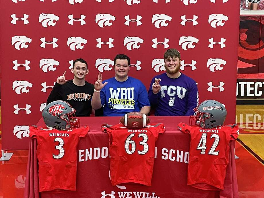 Splendora football players, from left, Jagger Kennedy (Hendrix), Tyler Anderson (Wayland Baptist) and Trenton Dickey (TCU) celebrated their college commitments. Photo: Submitted