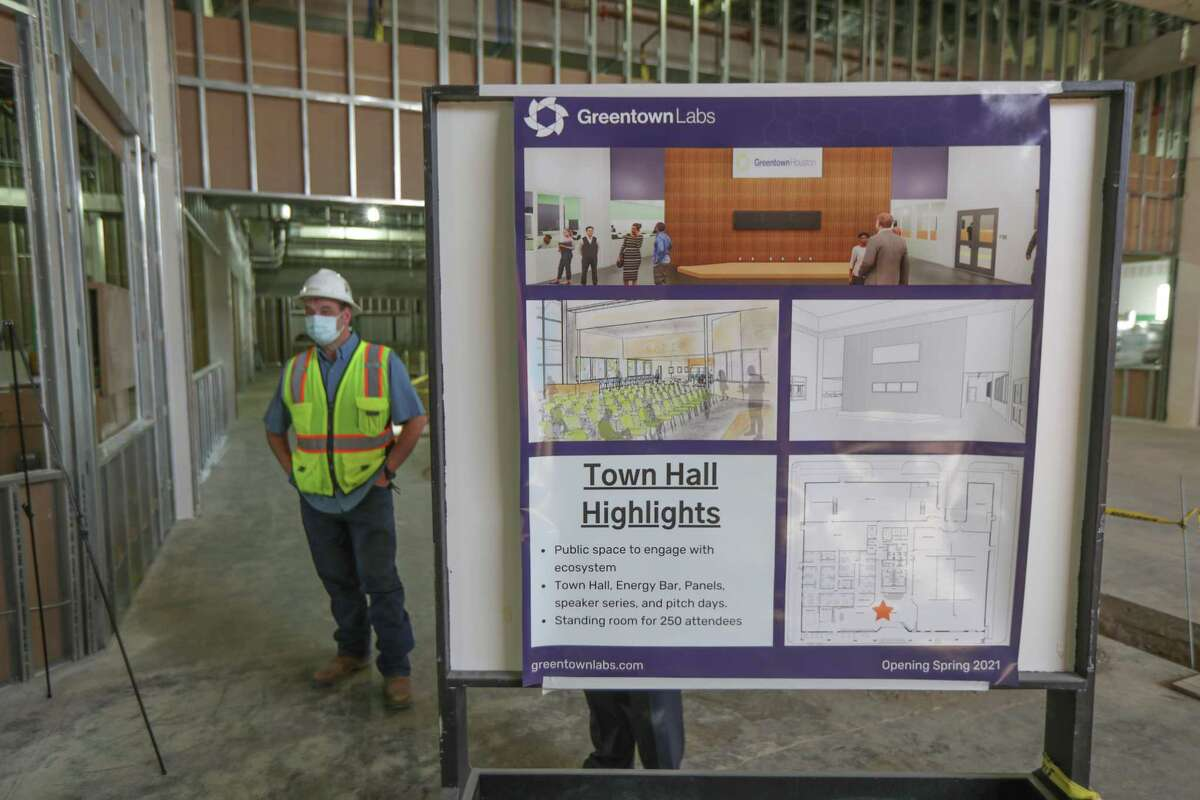 A sign in Greentown Labs Houston gives highlights of construction that is underway Tuesday, Feb. 2, 2021, in Houston.