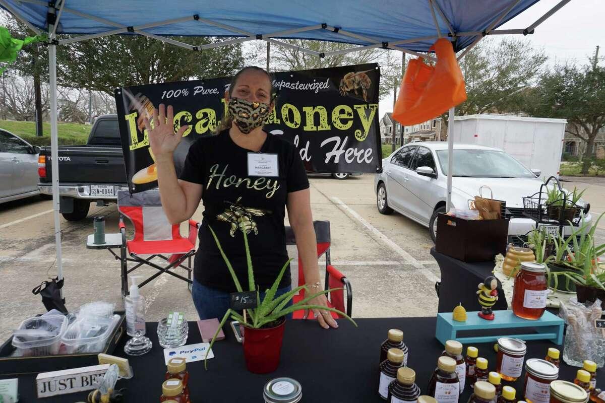 Margaret Wrzesinski of I've Been Stung! Honey poses on Saturday, Jan. 30, at Farmers Market Partners in Missouri City.