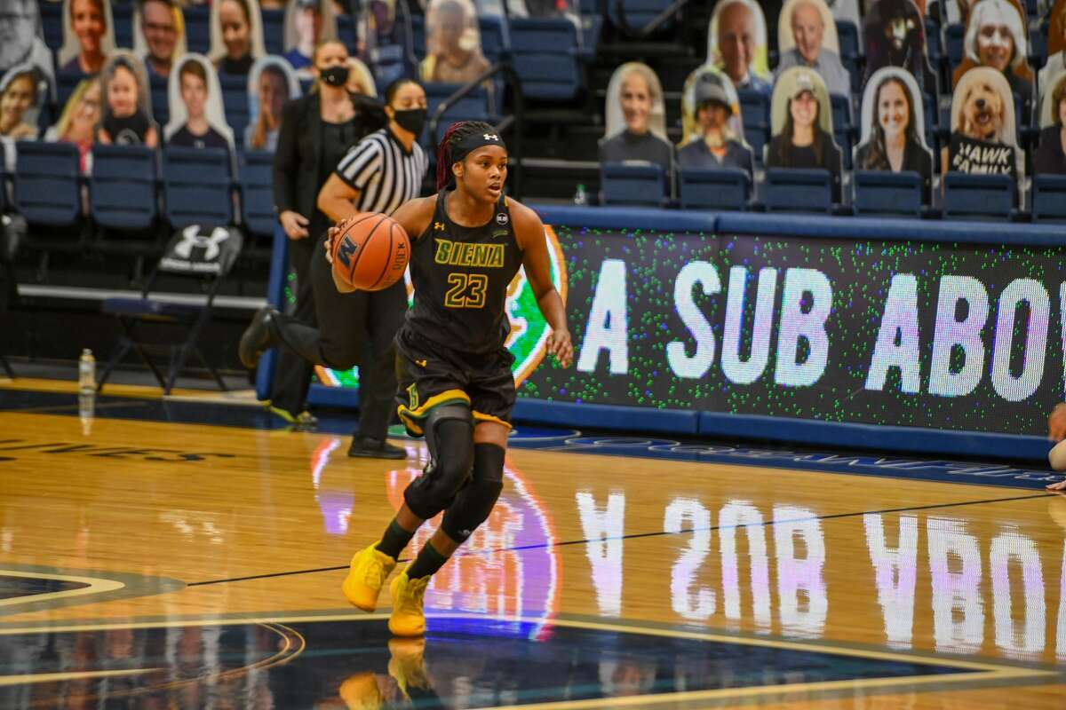 Isis Young of Siena led the MAAC in scoring this season at 18.9 points per game. (Courtesy of Monmouth Athletics)