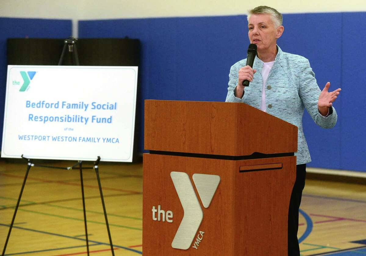 Westport Weston Family YMCA CEO Pat Riemersma welcomes recipients before they receive their awards during the Bedford Family Social Responsibility Fund of the Westport Weston Family YMCA first annual grant awards during a previous year. Rimersma is retiring from the CEO position at the YMCA in the town, this spring, 2021, to pursue other opportunities.