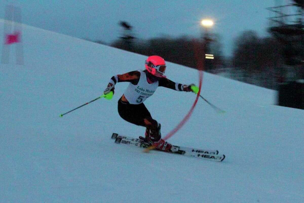 Aada Tukiainen races to another slalom victory on Feb. 3. (Robert Myers/News Advocate)