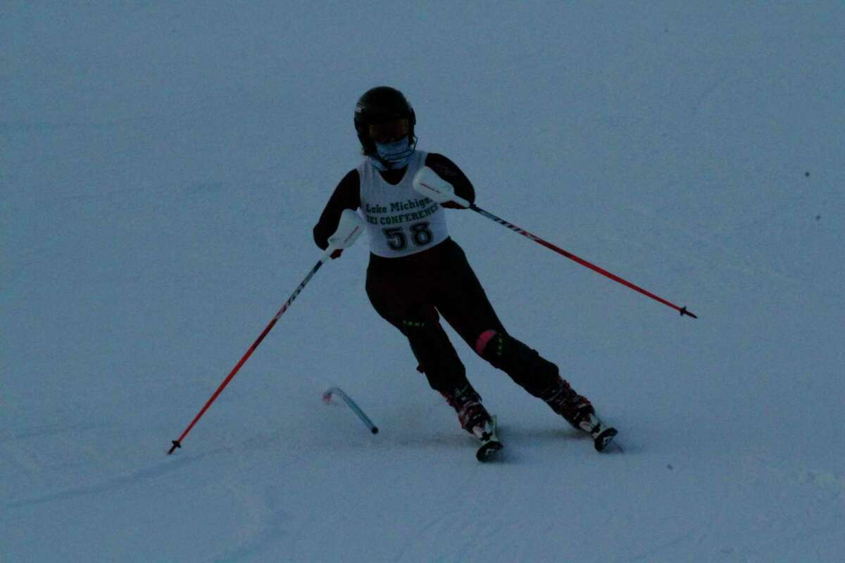 Alora Sundbeck races down the slalom course on Feb. 3. (Robert Myers/News Advocate)