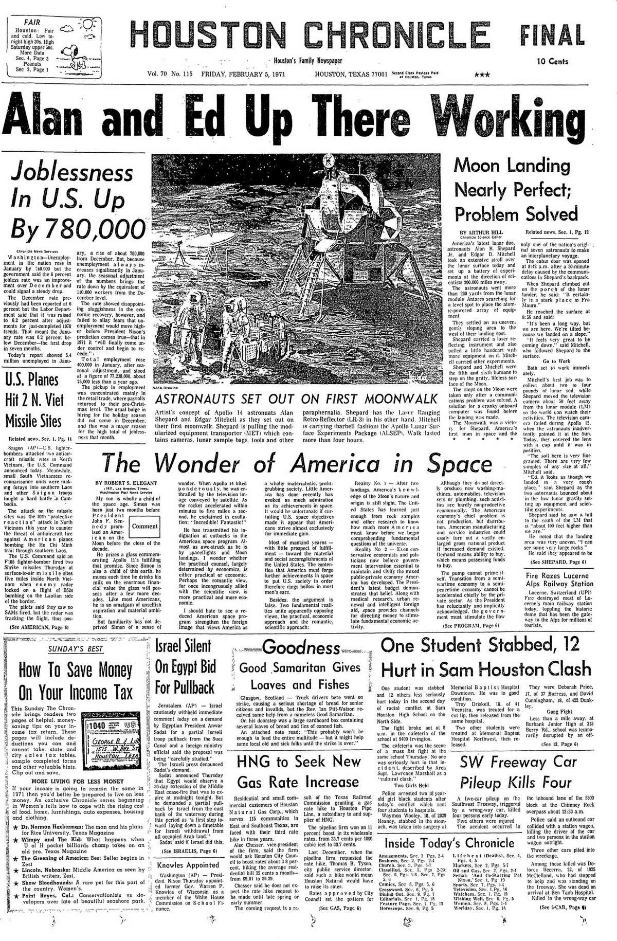 Houston Chronicle front page for Feb. 5, 1971.