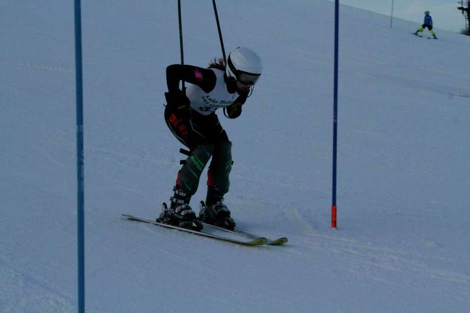 Ella Gaylord races down the slalom course on Feb. 3. (Robert Myers/News Advocate)