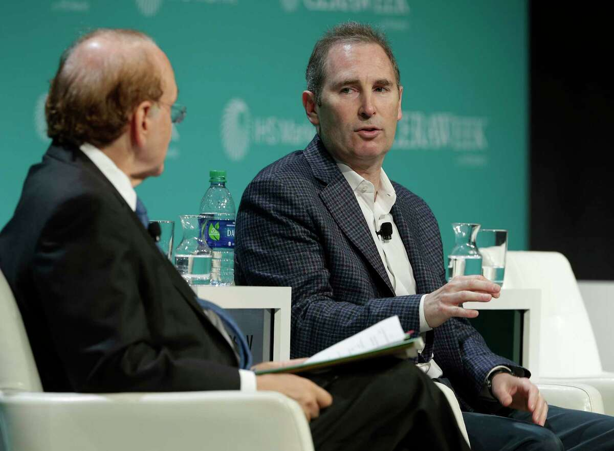 Amazon Web Services CEO Andrew Jassy, right, in March 2019 in Houston.