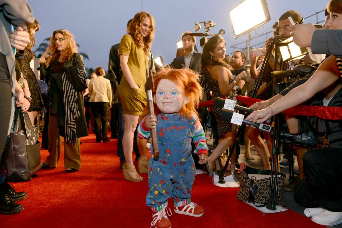 FILE: Actress Fiona Dourif (L) and Chucky attend the annual Eyegore Awards in celebration of the all-new film