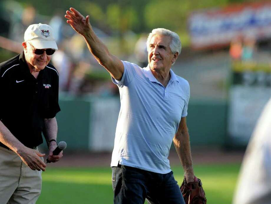 Former Senator Joseph L. Bruno salutes the crowd before throwing the first pitch of the Valley Cats home opening baseball game against Connecticut on June 18 at Joe Bruno Stadium in Troy. Bruno's two-year prison sentence for a fraud conviction is on hold pending appeal. (Cindy Schultz / Times Union) Photo: CINDY SCHULTZ / 00009182A