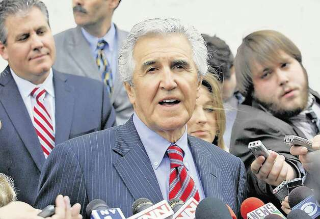 Former state Senate Majority Leader Joseph L. Bruno talks to the press outside the federal courthouse after his sentencing in Albany on May 6, 2010.  (Lori Van Buren / Times Union) Photo: LORI VAN BUREN / 00008609B